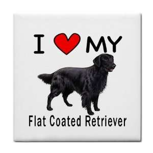 I Love My Flat Coated Retriever Tile Trivet Everything