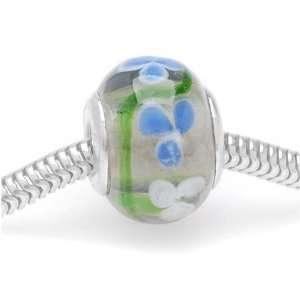 Murano Style Glass Lampwork Bead Fits Pandora Blue White