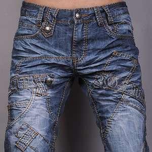 3mu Mens Designer Jeans Pant Denim Stylish Washed Jam W28 30 32 34 36