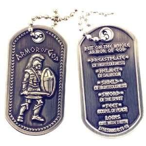 Armor of God Brushed Steel Dog Tag