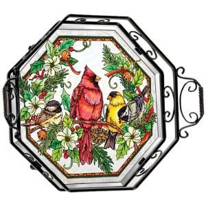 Amia Beveled Glass Octagon Tray with Christmas Songbird Design, Hand