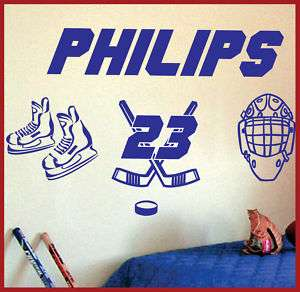 Custom Name & Number HOCKEY Vinyl Wall Decals #045