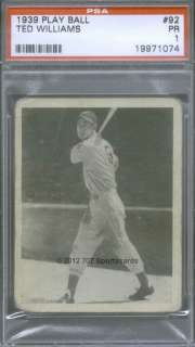 1939 Play Ball 92 (R) Ted Williams PSA 1 (1074)
