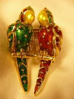 LOVE BIRDS PARROT BROOCH 18K GOLD GREEN AND RED ENAMEL