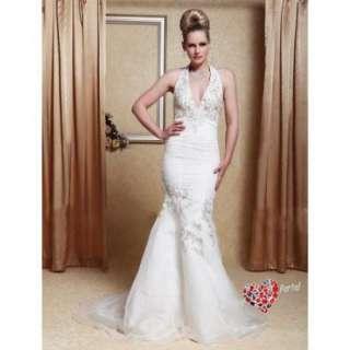 Trumpet Halter Court Train Satin Organza Wedding Dress