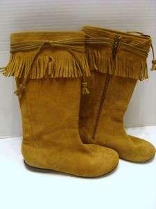 Girls Sz 12 Stride Rite Brown Suede Fringe Boots Saffron HCTS