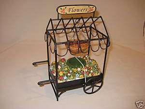 HOME INTERIORS FLOWER CART TEALIGHT CANDLE / OIL BURNER