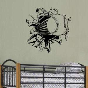 Baseball Rip Through Wall Wall Decal Art