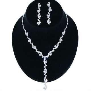 Bridal Wedding Jewelry Set Rhinestone Swirl Y Drop