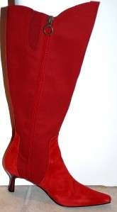 New Donald Pliner Red Boots Suede Knee 5.5