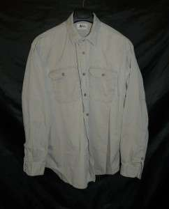 Brown Long Sleeve Work Shirt Heavy Cotton Button Front Pockets