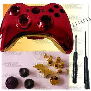Shell Case + Button for Xbox 360 Controller Iron Man Chrome Red/Gold