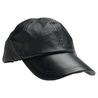 Solid Genuine Leather Black Blank Plain New Baseball Cap Hat Free