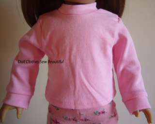 Clothes fit American Girl Pink Long Sleeve T Shirt Turtleneck