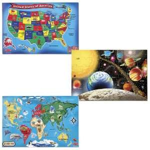 Wooden USA Map, Solar System and World Map Puzzle Bundle Toys & Games