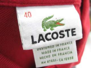 LACOSTE Red Short Sleeve Polo Shirt Top Size 40