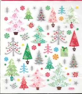 Christmas trees stickers #2 w/ silver glitter accents