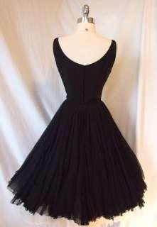 James GALANOS Couture Black SILK Chiffon DRESS Cocktail Party