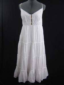 Vintage 70s White Cotton Crochet Lace Dress Made India