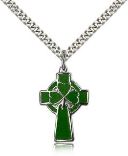 Green Clover Sterl Silver Celtic Cross Pendant Necklace