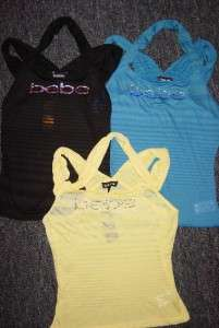 BLACK  YELLOW or BLUE *xs*s*m*l* BEBE LOGO tank top