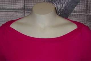 XS*S*M*L* BEBE RHINESTONE LOGO azalea pink 3/4 sleeve ribbed top shirt