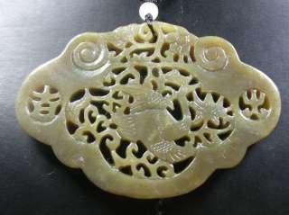Chinese Natural Hetian Nephrite Jade pendant Crane Ruyi Flower Ji Xian