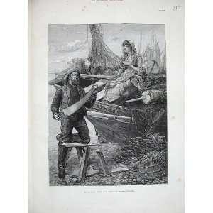 1885 Davidson Knowles Fine Art Woman Man Fisherman Saw