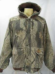 VTG Duxbak Camo Duck Hunting Realtree Quilted Hoodie Jacket Forest