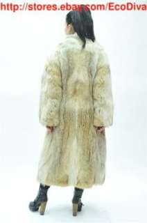 CLEAN PLUSH RETRO ARCTIC WOLF COYOTE FUR COAT SMALL