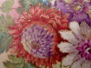 PORCELAIN VASE ART NOUVEAU HAND PAINTED AND GILDED FLORAL SPHERE