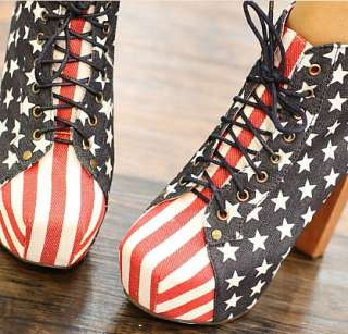 Womens Ankle Boot Platform Booties Lace Up Pumps Block Heels Shoes
