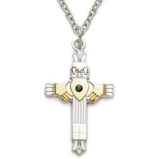 Claddagh Cross Emerald Necklace Sterling Silver Celtic