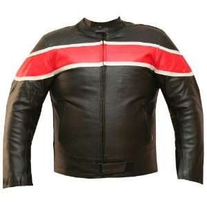 MENS BAND ARMOR MOTORCYCLE LEATHER JACKET Red 50 XXL