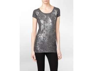 calvin klein snakeskin print sequin gallery t shirt womens