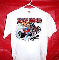 rat rod hot rod ROD RAGE large white tee t shirt #501