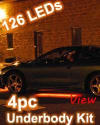 4pc Orange Led Interior Neon Lights Kit w. Sound Mode