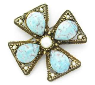 Maltese Cross Pin Faux Turquoise Art Glass Brooch Pendant Shabby