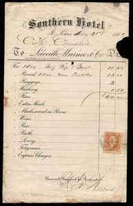 St. Louis MO 1867 Southern Hotel Receipt Revenue & St. Louis Cancel
