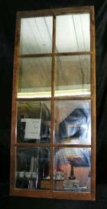 Old Vintage Large 8 Pane Distressed Wood Window Frame Wall Mirror