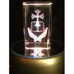 Laser Etched Crystal Cube Cross Hands Bible: Everything