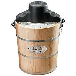 Aroma 6 quart Natural Wood Barrel Ice Cream Maker  Overstock