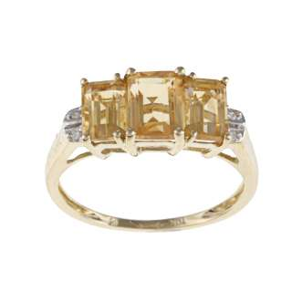 10k Yellow Gold Emerald cut Citrine Diamond Ring