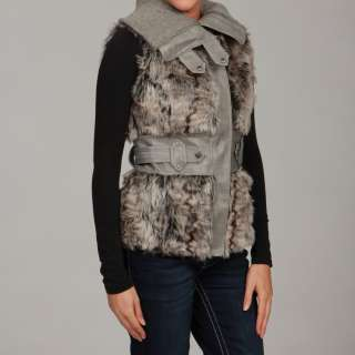 Dollhouse Womens Silver Faux Fur Knit Collar Vest