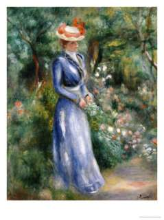 Woman in a Blue Dress Standing in the Garden at Saint Cloud Giclee