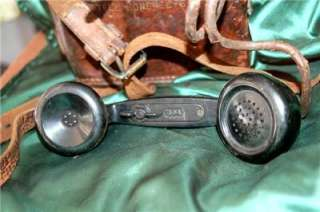 WWII US Army Signal Corps Field Phone EE 8A w/Leather Bag VG
