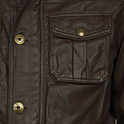 Steve Madden Mens Faux Leather Military Jacket