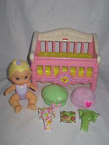Fisher Price Snap N Style Baby Doll Figure Crib Clothes Pieces