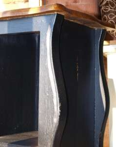 French Style Distressed Black Bedside / Lamp Table
