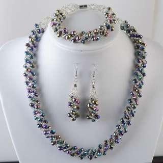 Beautiful Crystal Beads Necklace Bracelet Earrings set
